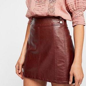 Free People Retro Vegan Leather Bodycon Skirt